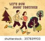sport run couple and sign color ... | Shutterstock . vector #357839933
