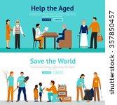 volunteer horizontal banner set ... | Shutterstock .eps vector #357850457