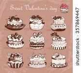 sweet desserts. sketch. vector... | Shutterstock .eps vector #357869447