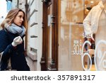 elegant woman with scarf and... | Shutterstock . vector #357891317