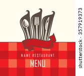 restaurant menu design with... | Shutterstock .eps vector #357919373