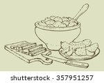 appetizing old pencil kitchen... | Shutterstock .eps vector #357951257