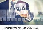 businessman pressing an skills... | Shutterstock . vector #357968663
