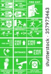 set of emergency exit signs ... | Shutterstock .eps vector #357973463