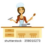 cartoon woman cooking in a chef'...
