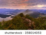 Stock photo beautiful summer sunrise in mountains with rays of light soft focus vibrant colors 358014053