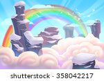 illustration  mountain top with ... | Shutterstock . vector #358042217
