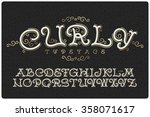 vintage font with small... | Shutterstock .eps vector #358071617