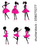 fashion silhouettes girls | Shutterstock .eps vector #358075277