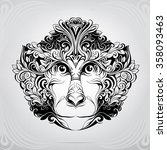 a head of monkey is in a... | Shutterstock .eps vector #358093463
