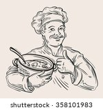hand drawn happy chef with pan... | Shutterstock .eps vector #358101983