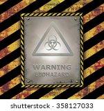 blackboard sign caution banner... | Shutterstock .eps vector #358127033
