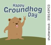 groundhog standing with peace... | Shutterstock .eps vector #358143923