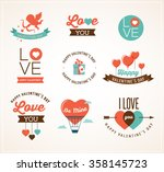 valentine's day icons ... | Shutterstock .eps vector #358145723