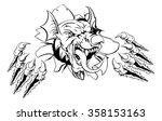 mean welsh red dragon y ddraig...   Shutterstock .eps vector #358153163