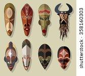 african masks set | Shutterstock .eps vector #358160303