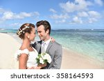 bride and groom looking at each ... | Shutterstock . vector #358164593