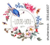 spring vintage round frame with ... | Shutterstock .eps vector #358168337