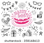 happy birthday hand drawn... | Shutterstock .eps vector #358168613