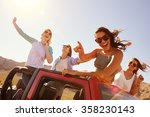 four female friends on road...   Shutterstock . vector #358230143