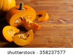 pumpkin slices with seeds on a... | Shutterstock . vector #358237577