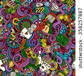 cartoon hand drawn doodles on... | Shutterstock .eps vector #358257887