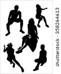 vector set of black silhouettes ... | Shutterstock .eps vector #358264613