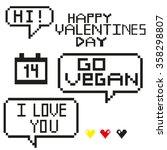 pixel art with words happy... | Shutterstock .eps vector #358298807