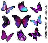 Nine Violet Blue Butterflies O...