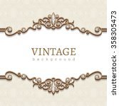 vintage gold frame on white ... | Shutterstock .eps vector #358305473