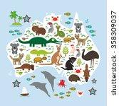map of australia. echidna... | Shutterstock . vector #358309037