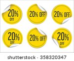 20 percent off yellow paper... | Shutterstock .eps vector #358320347