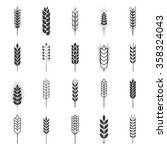 set of simple wheat ears icons | Shutterstock .eps vector #358324043