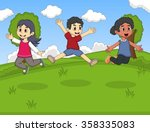 kids playing at th park jumping ... | Shutterstock . vector #358335083