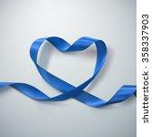 Blue Ribbon Heart. Vector...