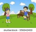 children at the park cartoon | Shutterstock . vector #358342403