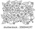 Doodle Floral Pattern In Black...