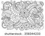 doodle floral pattern in black... | Shutterstock .eps vector #358344233