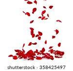 Stock photo rose petals fall to the floor isolated background d render 358425497