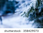 snow covered tree pine branch... | Shutterstock . vector #358429073