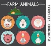 farm animals and birds round... | Shutterstock . vector #358430663