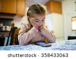 little blonde girl with... | Shutterstock . vector #358433063
