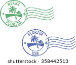 two postal grunge stamps 'miami ... | Shutterstock .eps vector #358442513