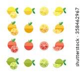 citrus fruits. fruit flat icons.... | Shutterstock .eps vector #358462967