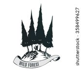 logo wild forest with fox. dark ... | Shutterstock .eps vector #358499627