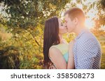 young couple in love walking in ... | Shutterstock . vector #358508273