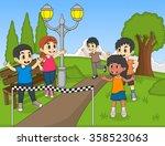 children running in park cartoon | Shutterstock . vector #358523063