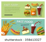 fast food banners with french... | Shutterstock .eps vector #358613327