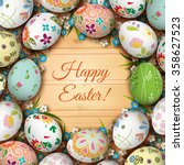 realistic easter eggs and... | Shutterstock .eps vector #358627523