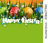 template easter card with... | Shutterstock .eps vector #358627583